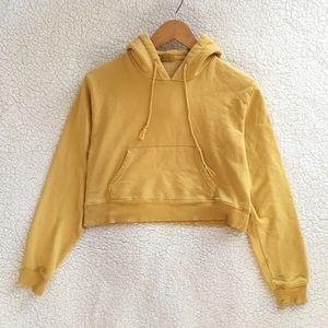 Brandy Melville mustard yellow crop Daisy hoodie